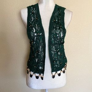 Woven Crochet Rayon Beaded Detailed Green Vest
